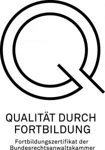 Qualitätssiegel Fortbildungszertifikat BRAK Rechtsanwalt Jörg Streichert