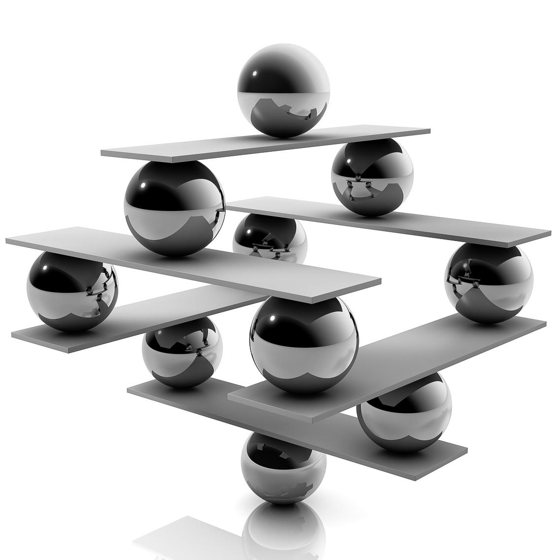 Balance: abstrakte Konstruktion aus Kugel