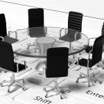 Round table with black leather chairs around it