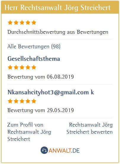 Bewertungen von Mandanten für Jörg Streichert auf Anwalt.de